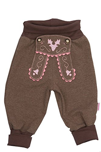 Babyhose Mädchen Sweathose braun im Lederhosenstil mit rosa Stickerei Gr.62