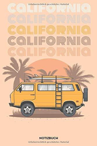 Notizbuch für Bulli und Van LIFE Freunde, Camper und Abenteurer | Größe 6x9 | California: VW T3 BULLI DESIGN | A5 Format | 120 Blatt | Notizheft  | Tagebuch | Dot Grid | Punktraster | Blanko