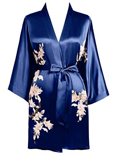 BABEYOND Damen Morgenmantel Blumen Gedruckt Sommer Bademantel Kimono Kurz Robe Leicht Schlafmantel Damen Satin Strandkleid (Navyblau)