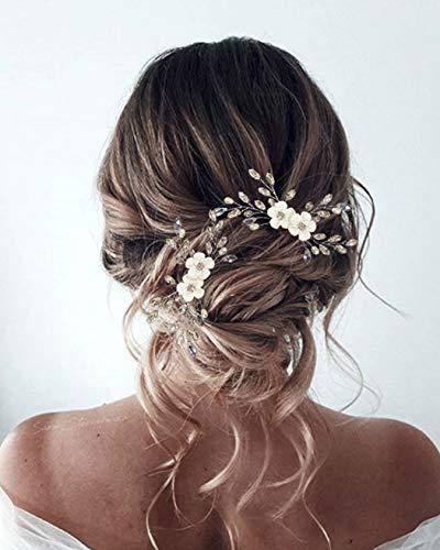 Unicra Braut Hochzeit Haarkamm Silber Blume Kopfschmuck Kristall Braut Haarschmuck für Frauen und Mädchen