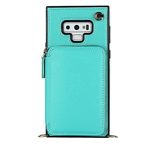 Carcasa de telefono Para Samsung Galaxy Note 9 Zipper Wallet Funda, estuche con soporte de tarjeta Slot Strap Strap Bolso protector de bolso de mano cubierta de cuero para Samsung Galaxy Note 9 Funda