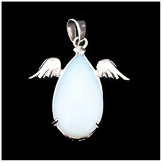 1 x Clear Opalite 17 x 28mm Pendant (Angel Wings) - (CB46924) - Charming Beads