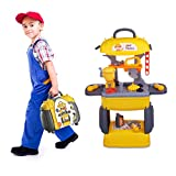 Doloowee 2 in 1 Kids Tool Set Tool Play Set Pretend Play Series Workbench Toy , 28 Pcs Build Work Shop Toy Tool Kit Bench Preschool Toy for Kids Toddler Children Boys and Girls (Tool Toy B)