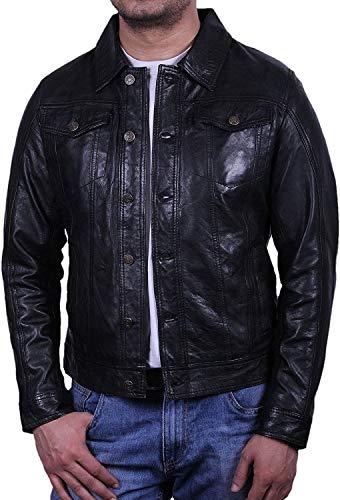 BRANDSLOCK Homme Blouson Veste Motard d'origine en Cuir Vintage Slim fit Manteaux