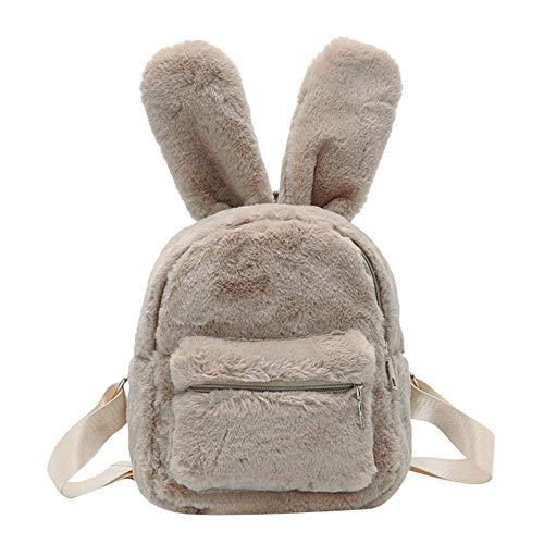 Damen Mini-Rucksack, Kunstfell, mit Hasenohren, Handtasche aus Plüsch Braun Camel 9.84