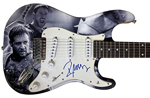 RUSSELL CROWE GLADIATOR SIGNED FULL SIZE CUSTOM ELECTRIC GUITAR AUTOGRAPH BAS