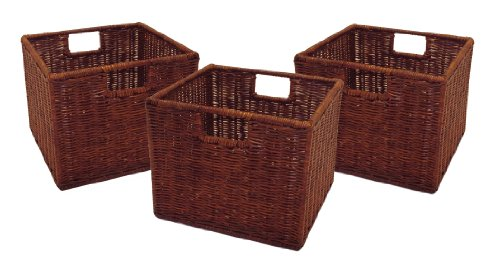 Winsome Leo Set of 3 Wired Baskets, Small, Brown