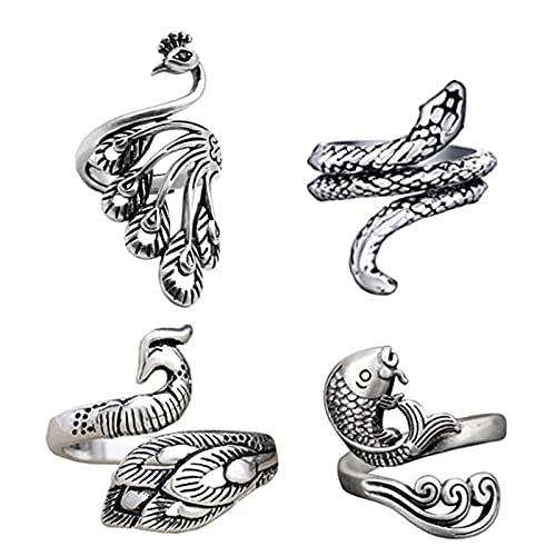 Amusingtao 4pcs Vintage Open Rings Set Knuckle Stacking Ring Snake Ring Finger Rings for Women Men Girls,Adjustable Opening