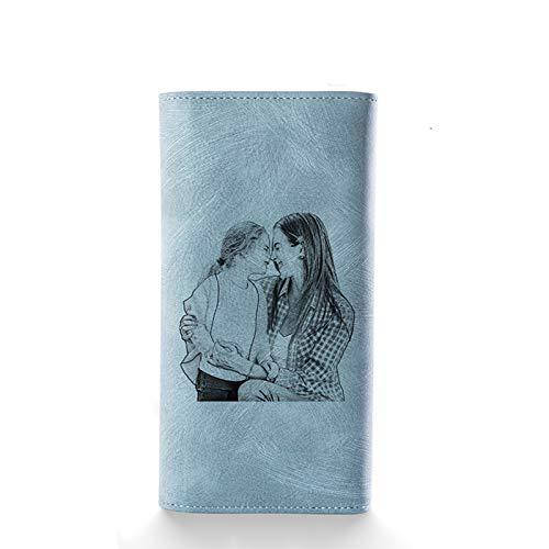 Kaululu Personalizado Foto Cartera para Mujer Hombre Personalizada Nombre Grabar Monederos Mujer Tarjetero Cartera de Mujer de Gran Capacidad de Cuero de Mujer (#7)…
