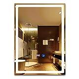 LED鏡 病毒の交叉を効果的に遮断でき 手を軽く振るとLEDライトが自動的にオン/オフ (鏡50*70cm ) 曇り止め 時間と温度表示 低電圧安全12ボルト出力 LED照明付き 誘導スイッチ 日本の安全規格認証電源 LEDミラー 飛散防止ミラー 鏡 化粧鏡 洗面所 洗面台 白色LED バスルームミラー ミラー 鏡 ミラーバスルームミラー浴室鏡 化粧台鏡 壁掛け鏡 壁飾り鏡 ウォールミラー 方形鏡 四角い鏡 ホテルのバスルームの鏡 壁掛けミラー防爆飞散防止ミラー装飾ミラー化粧鏡 (50*70CM )