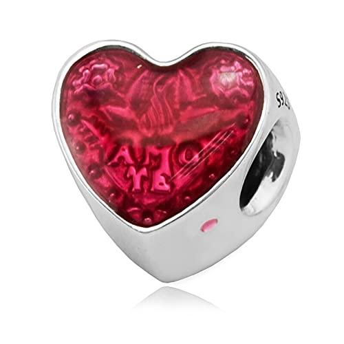 Diy 925 Pandora Colgante Se Adapta A Pulseras Amor Latino Corazón Cuentas De Plata Encantos De Plata Esterlina Joyería