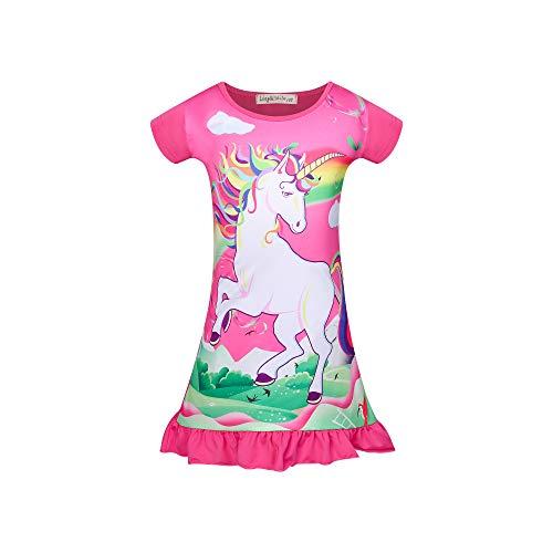 NA Mädchen Einhorn Nachtwäsche Pyjama Prinzessin Nachthemd Kinder Nachthemden Kurzarm Nachthemd Nachthemden Nachtwäsche