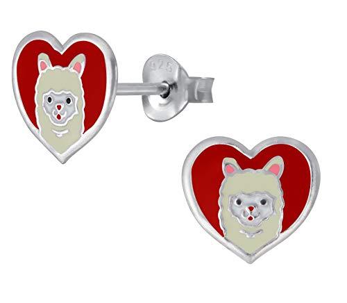 Sterling Silver Love Heart Llama Alpaca Animal Earrings Gift - Extra Small
