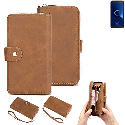 K-S-Trade® 2in1 Handyhülle Für -Alcatel 1C Dual SIM- Schutzhülle und Portemonnee Schutzhülle Tasche Handytasche Case Etui Geldbörse Wallet Bookstyle Hülle Braun (1x)