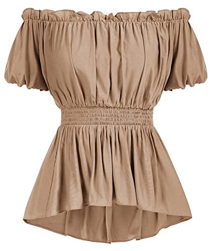 SCARLET DARKNESS Blusa de manga corta para mujer, con hombros descubiertos, con cintura ahumada, rojo ladrillo, XXL