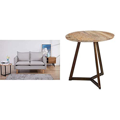 Amazon Marke - Movian Keitele - 2-Sitzer-Sofa, 130 x 82 x 84, Hellgrau & Rivet - Runder Beistelltisch, 50x50cm, Ulme