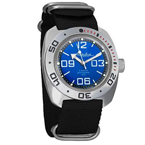 Vostok Militar ruso Diver para hombre de anfibios Amphibia Reloj de pulsera Negro Nailon # 71815