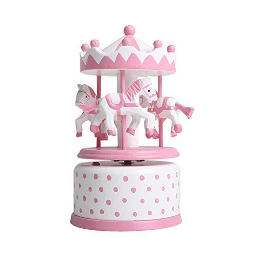 YIXIN2013SHOP Caja de Música Caja de música giratoria clásica, Caja de música Tallada a Mano, for niños, niñas, Amigos Caja Musical (Color : Pink)