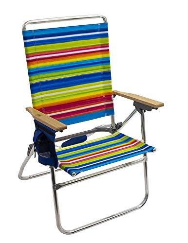 "Rio Gear Beach Hi-Boy High Seat 17.5"" Folding Beach Chair - Global Essence Blue/Pink Multi Stripe"