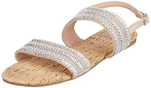 Dorothy Perkins Funk Double Strap Embellished Sandal, Bride Cheville femme - Argenté (Silver 600), 39 EU (6 UK)