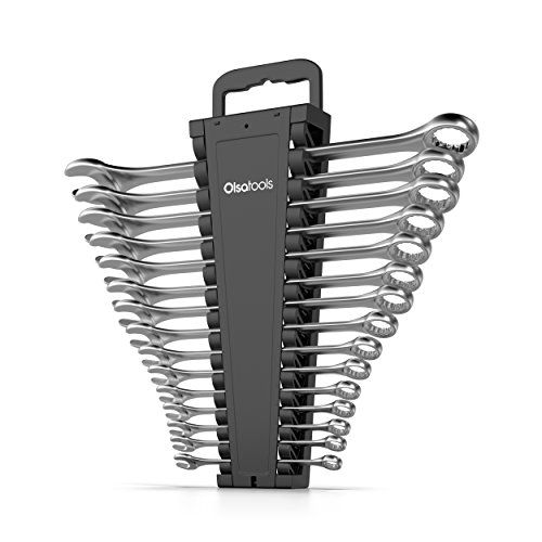 Olsa Tools Portable Wrench Organizer | 15-Slot Wrench Holder for Organizing Wrenches | Black