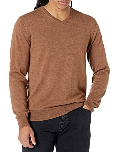Amazon Brand - Goodthreads Men's Lightweight Merino Wool V-Neck Sweater, Camel, Large