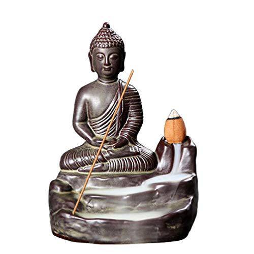 EXCEART Buda Reflujo Quemador de Incienso Cascada Titular de Incienso Cerámica Zen Estatua de Monje...