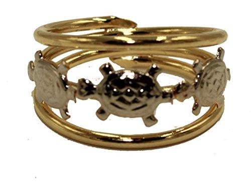 Diamantados of Fla Anillo de Tortuga Chapado en Oro de 18 Quilates en Dos Tonos – tamaño 7