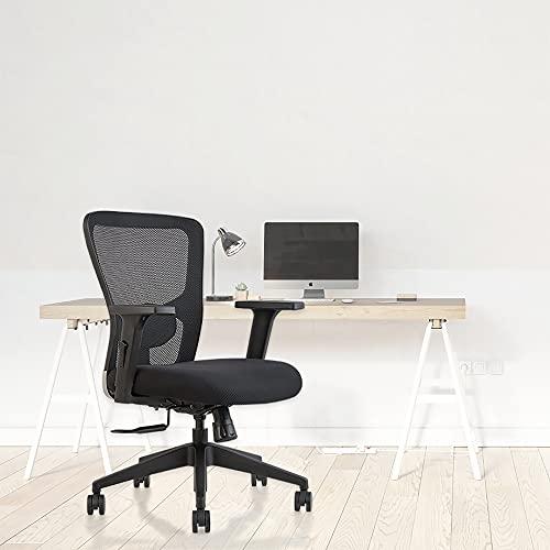 INNOWIN® Jazz Medium Back Mesh Office Chair Nylon for Office & Home - (Black)