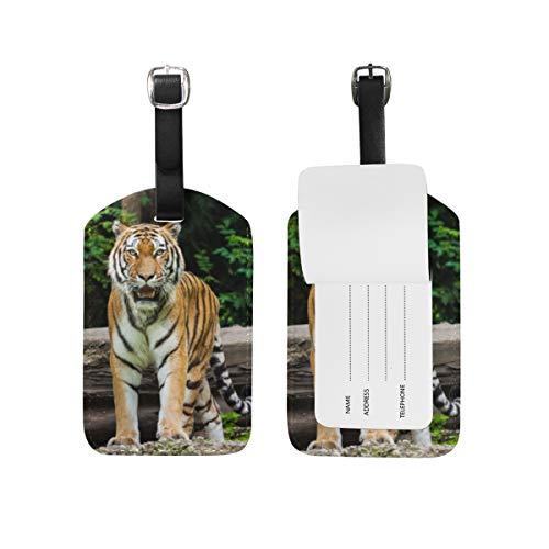 Tiger - Etiqueta de equipaje de piel sintética para maleta de viaje, 2 unidades