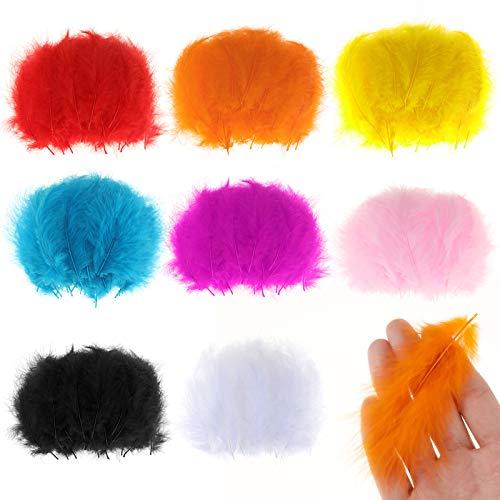 MWOOT 400 Piezas Plumas de Colores Artesanales, 8 Colores Mini Plumas (9-15cm) para Fabricación de Pendientes de Bricolaje Inicio Bodas Decoraciones Blanco Rosa Rojo Amarillo Azul Negro Naranja Rosa