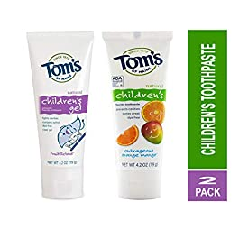 Toms of Maine Natural Children's Toothpaste Fruitilicious Flavor and Anticavity Fluoride Children's Toothpaste, Outrageous Orange-Mango 4.2 Ounce Kit