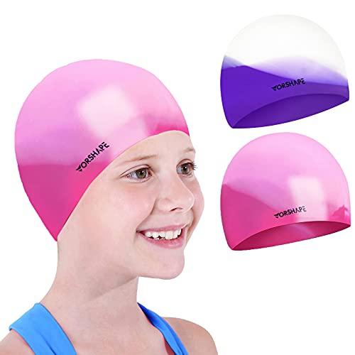 Vorshape Swim Cap Kids (2 Pack), Durable Waterproof Swimming Cap for Girls Boys Teens Toddler, Comfortable Fit for Long Hair and Short Hair, Purple&Pink