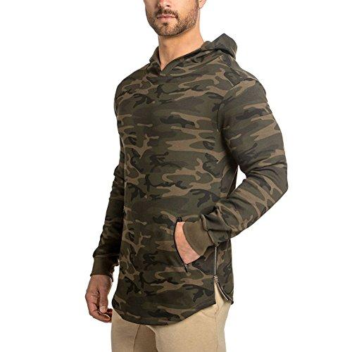DIOTSR Men's Athletic Hoodies Workout Gym Sweatshirts Long Sleeve Fleece Pullover Shirt(Camo Green US-XS/Tag Meidum)
