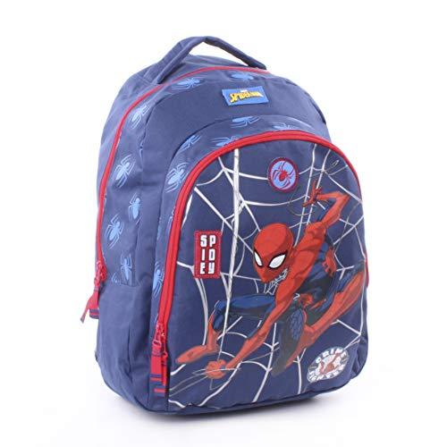 Marvel Spider-Man - Zaino Scuola Elementare Doppia Zip Spallacci e Rero Imbottiti - Bambino - 44x34x15 cm - Prodotto Originale Con Licenza Ufficiale 019-XXXX [Blu Spider-Man - Elementari]
