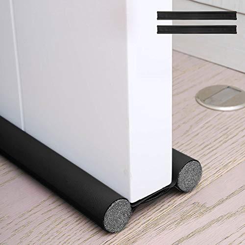 隙間テープ ドア クッション すきま風防止 冷気遮断 防音防虫 ドアドラフトストッパー 防塵プラグ (1, ブラック)