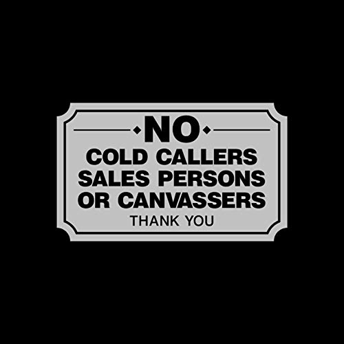 USSP&S No Cold Callers, Canvassers, Sales, Front Door Sticker Sign 100x60mm - Letterbox
