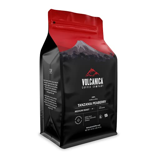 Tanzania Peaberry Coffee, Mount Kilimanjaro, Whole Bean, Fresh Roasted, 16-ounce