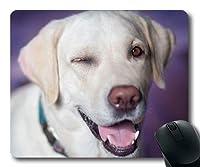 カスタムマウスパッド、子犬厚いマウスパッド、犬ラブラドールジョリーウィンクスビュークローズアップ、犬ゲーミングマウスマット