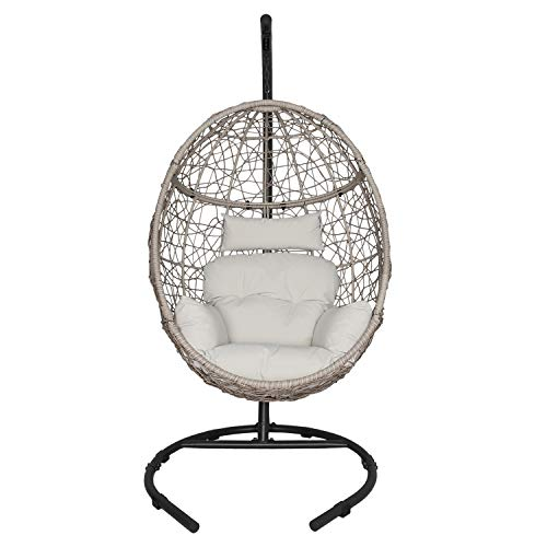 Ulaxfurniture Outdoor Patio Wicker Hanging Basket Swing Chair Tear Drop Egg Chair With Cushion And Stand Beige Buy Online In Bahrain At Bahrain Desertcart Com Productid 144543442