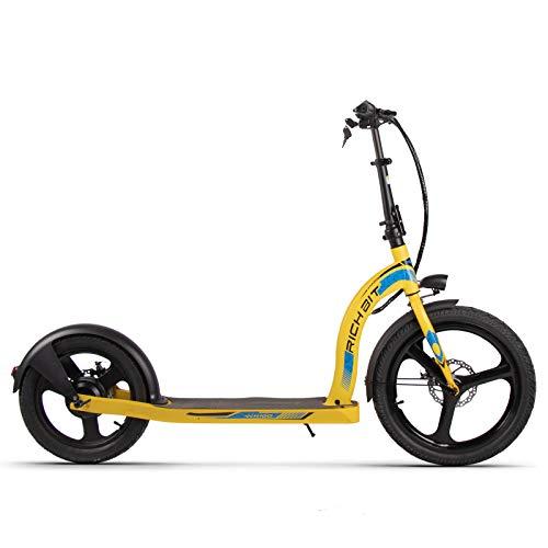 Patinete eléctrico RICH BIT H100 36V 350W 10.2 Ah 20-16 Pulgadas Scooter de Ciudad Plegable para Adultos y niños (Amarillo)