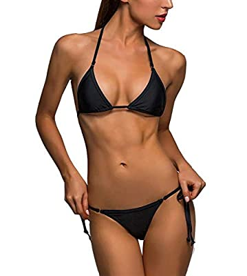 Mpitude Free Size Black V Shape Thong Bikini Set Sexy Halter Bikini Bra Panty String Two Piece Bikini Swim Suit Women Bikini Beachwear Sexy Thongs Honeymoon Bikini Set