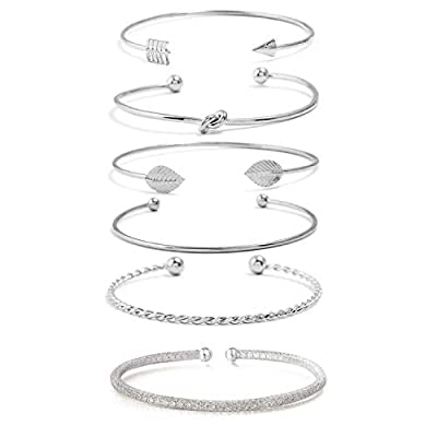 I'S ISAACSONG Yellow Gold Plated Inspirational Love Knot Stackable Open Cuff Bangle Bracelet Set for Women and Girls (Crystal, Arrow, Love Knot, Leaf 6pcs Silver Set)