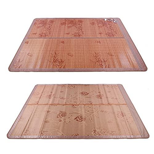 VINGVO Estera de bambú, colchones de bambú, Mano de Obra Fina, Durabilidad, Tratamiento de carbonización a Alta Temperatura para Dormitorio, hogar(90 * 190cm, Blue)