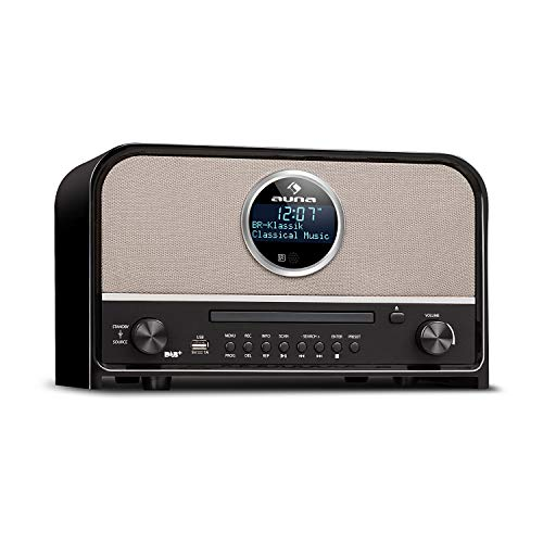 auna Columbia Retro Line DAB Bluetooth Radio (MP3- und CD-Player, Nostalgie-Radio, 60 Watt max, DAB+/UKW-Tuner, Radio-Wecker, Sleep-Timer, Stereo-AUX, USB, LCD-Display) schwarz