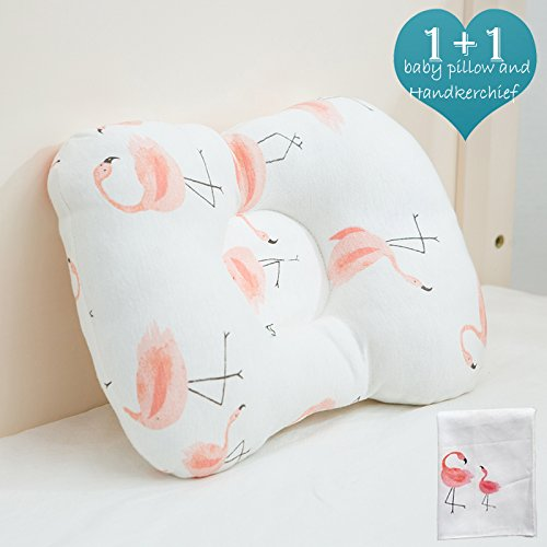 Organic Newborn Baby Pillow, Washable and Breathable Cotton be Used in Fabric and Core, Adjustable Height and Ergonomic Design to Prevent Flat Head Syndrome. A Cute Handkerchief is Included(Flamingo)