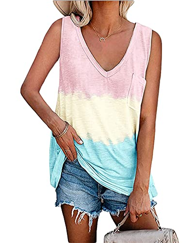 Camiseta Sin Mangas Mujer Linda Sexy con Cuello En V Moda Tie-Dye Camiseta Sin Mangas Verano Playa Vacaciones...