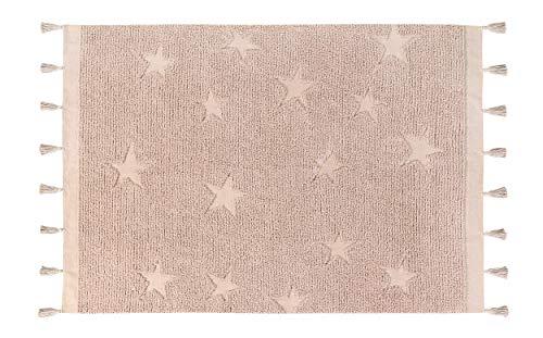 Lorena Canals Tapis Lavable Hippy Stars 100% Coton -Vintage Nude- 175x120 cm