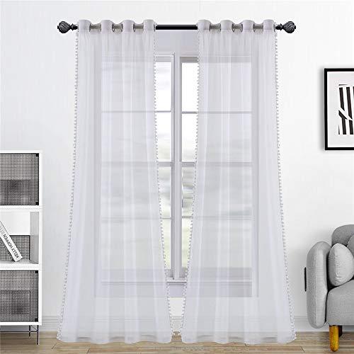 Dreaming Casa Weiß Transparent Vorhang mit Pompons Bommel Voile Gardinen Ösenschal Dekoschal Vorhänge Fensterschal für Wohnzimmer 2er Set 230cm x 230cm(H x B)