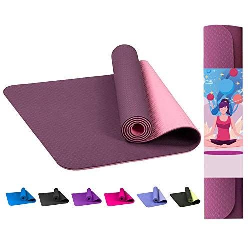 TIMES FIT Esterilla Yoga Antideslizante 183x61cm Grueso 7mm Alta densidad Ejercicio Mat Fitness Entrenamiento Alfombrilla de Pilates con superficie de textura